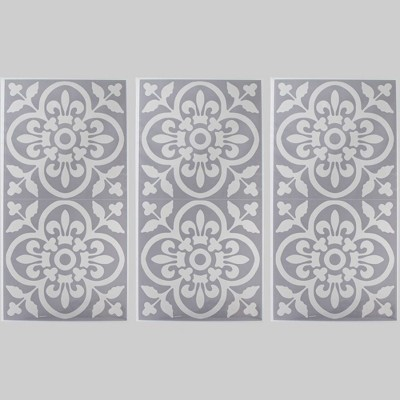 3pk 6pc Tile Decals Gray - Bullseye's Playground™