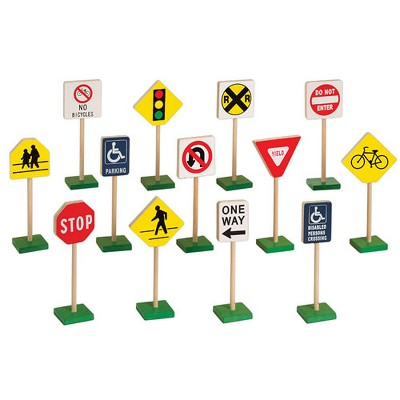 "Guidecraft Miniature Traffic 7"" Signs - 13 pcs"