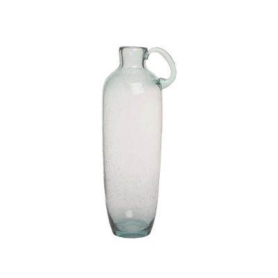 Transpac Glass 18 in. Clear Spring Tall Glass Vase with Handle