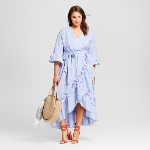 6d8b670ef2c Women s Plus Size Ruffle Wrap Dress - Who What Wear™ Blue Stripe. Shop all  Who What Wear