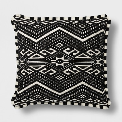 Fringed Jacquard Euro Pillow Black - Opalhouse™
