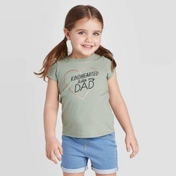 Toddler Girls' Short Sleeve 'Kindhearted Like My Dad' Graphic T-Shirt - Cat & Jack™ Olive