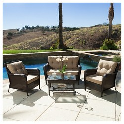 Savona 4pc Wicker Patio Set- Brown - Christopher Knight Home