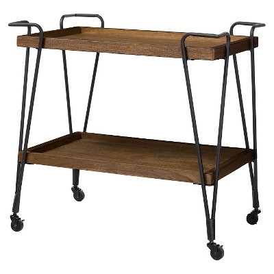 Jessica Rustic Industrial Style Textured Finish Metal Distressed Ash Wood Mobile Serving Bar Cart - Black & Brown - Baxton Studio