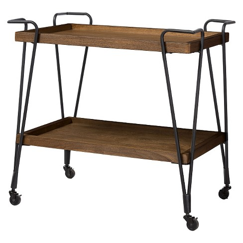 Jessica Rustic Industrial Style Textured Finish Metal Distressed Ash Wood Mobile Serving Bar Cart - Black & Brown - Baxton Studio - image 1 of 4
