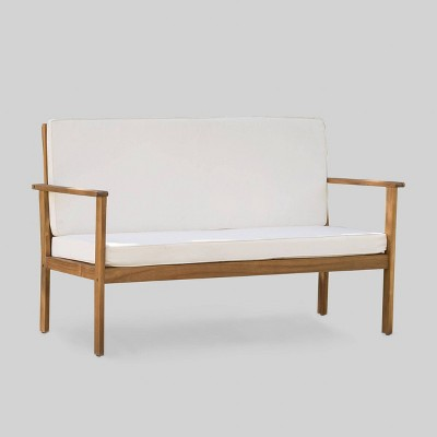 Luciano Acacia Wood Bench - Brown/Cream - Christopher Knight Home
