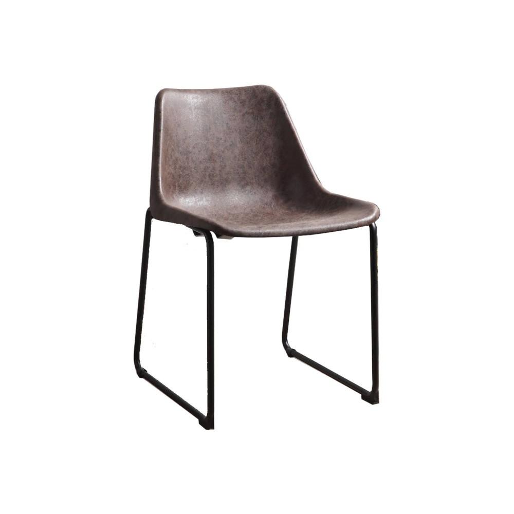 Set Of 2 Metallic Side Chairs With Leather Upholstered Seat Mocha Black Benzara