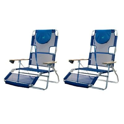 Ostrich 3N1 Lightweight Aluminum Frame 5 Position Reclining Beach Chair (2 Pack)