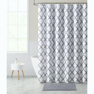 Kate Aurora Chic Living White & Gray Trellis Fabric Shower Curtain & Rug Set - Multi