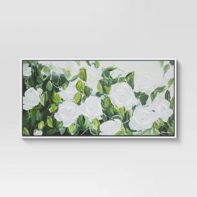 "47"" x 24"" Extra Large Floral Greenery Framed Wall Canvas White/Green - Opalhouse™"