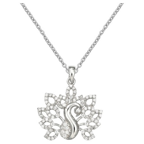 "Women's Peacock Pendant with Pave Cubic Zirconia in Sterling Silver - Silver/Clear (18"") - image 1 of 1"