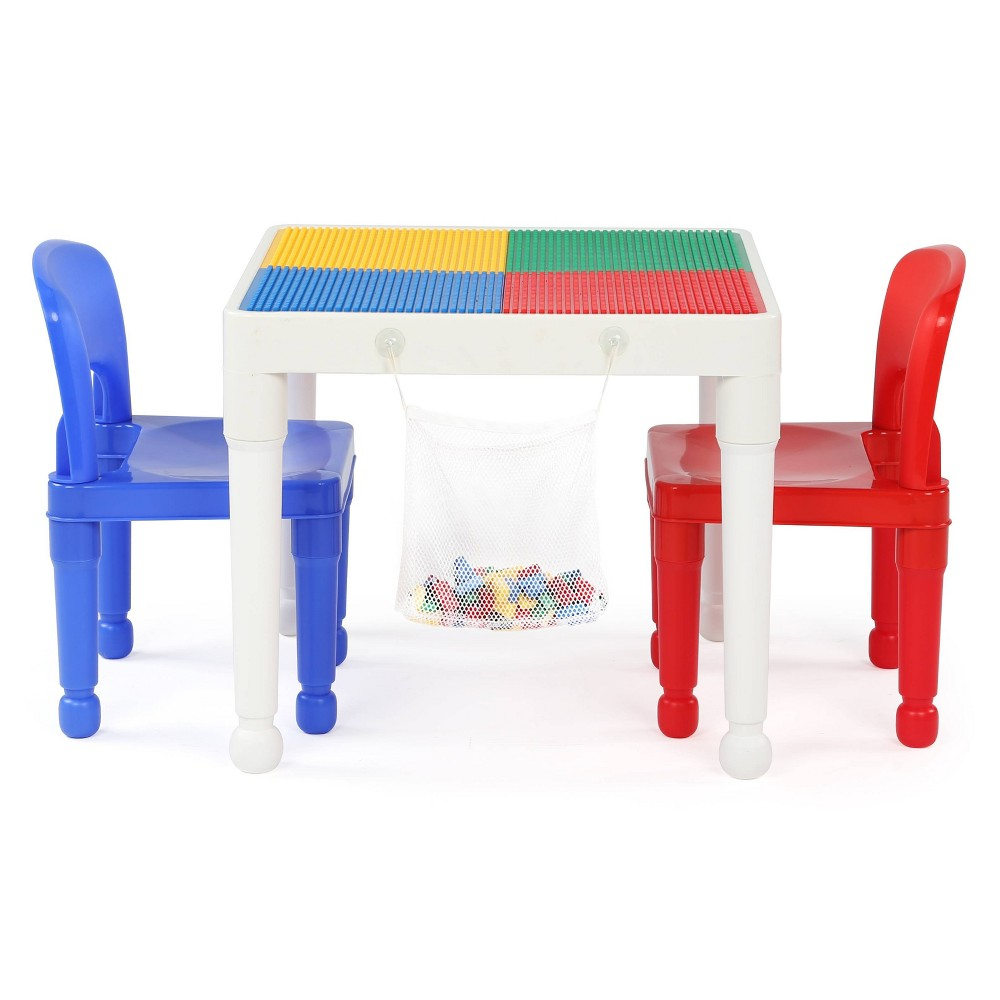 Image of 3pc 2 in 1 Square Activity Table With 2 Chairs Blue/Red - Humble Crew