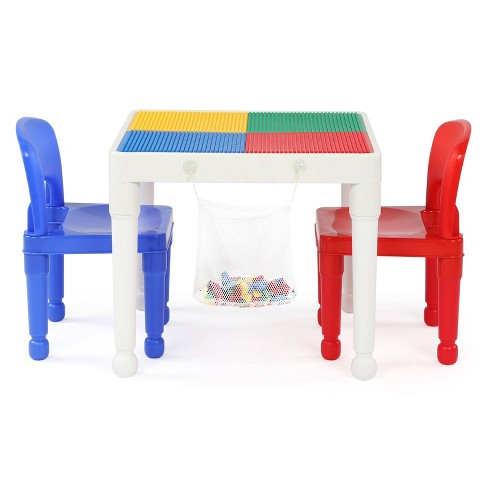 3pc 2 In 1 Square Activity Table With, Wooden Lego Table With 3 Chairs