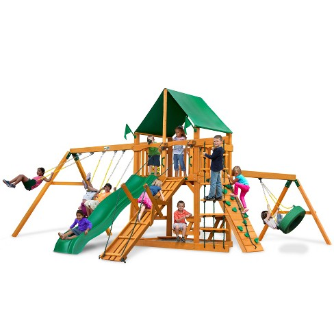 Gorilla Playsets Frontier Swing Set with Amber Posts & Deluxe Green Vinyl Canopy - image 1 of 3