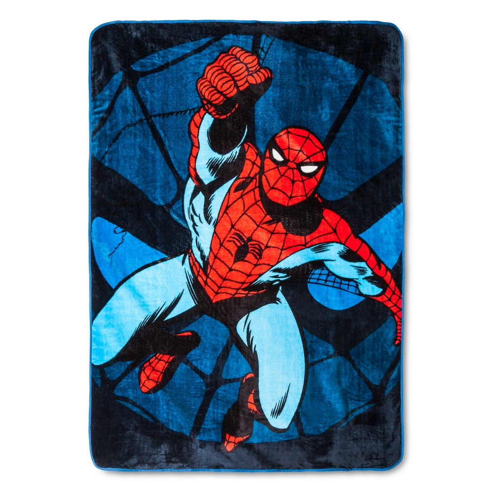 Spider-Man Jump Kick Bed Blanket Twin Blue - Spider-Man, Royal