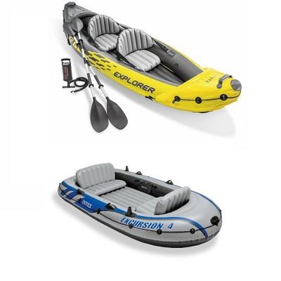 Intex 2-Person Inflatable Kayak w/ Oars & Air Pump & 4 Person Boat w/ Oars &Pump