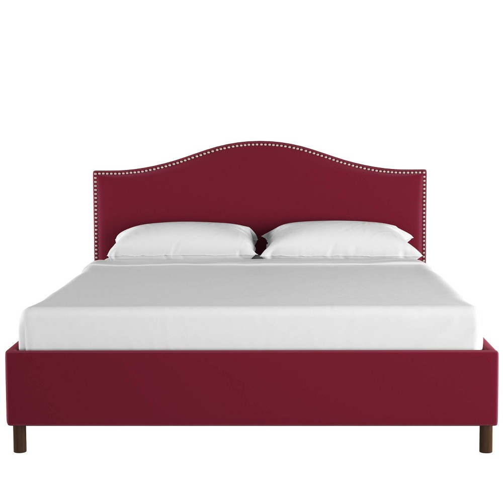 California King Nail Button Platform Bed in Velvet Berry Red - Skyline Furniture
