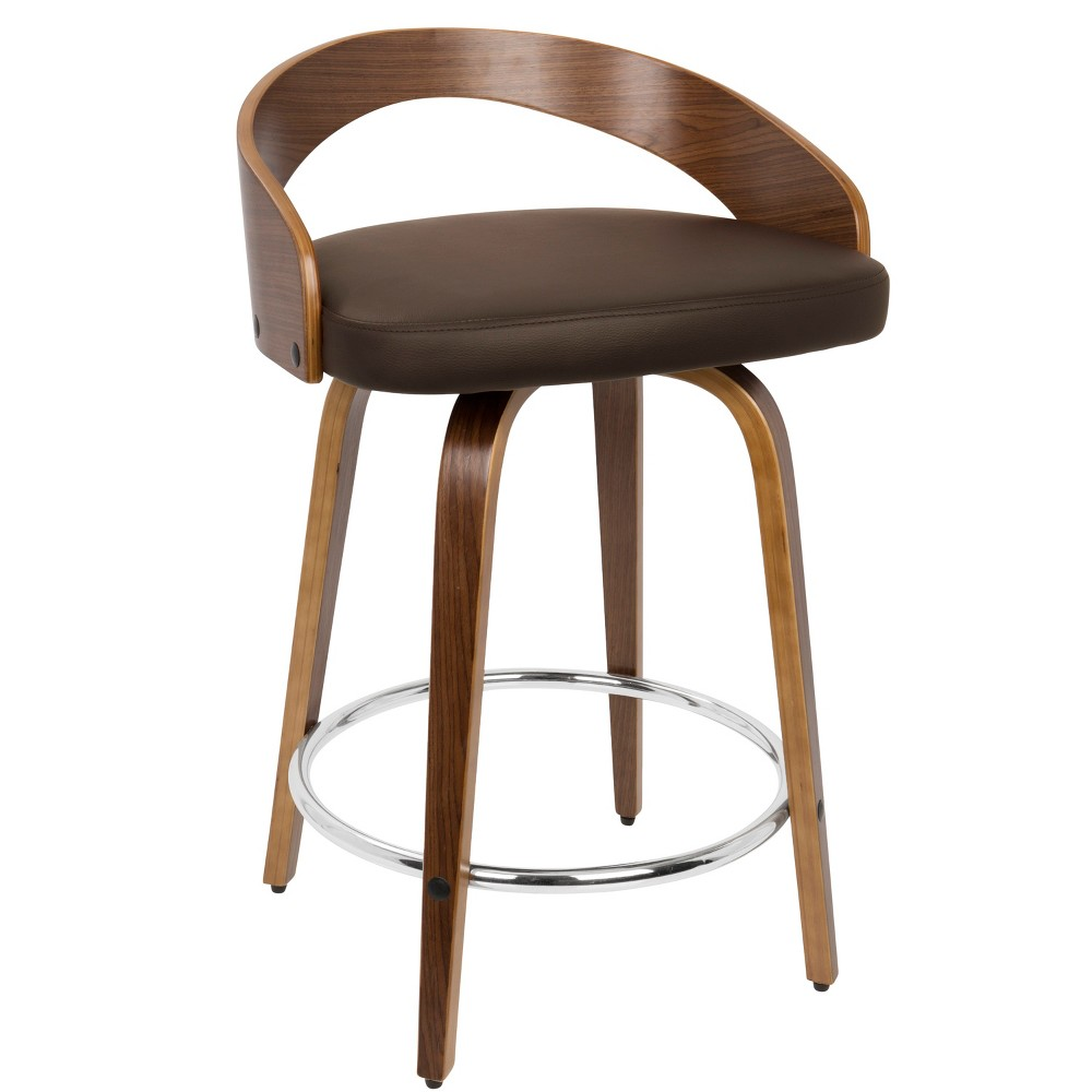 24 Grotto Mid-Century Modern Counter Stool Walnut/Brown (Brown/Brown) - LumiSource