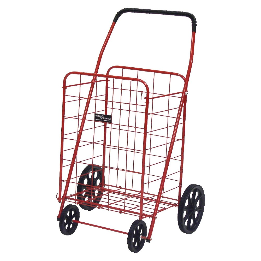 Narita Jumbo-A Shopping Cart, Red This quality four-wheel Easy Wheels Shopping Cart is well-suited for shopping, laundry and hundreds of other purposes. The cart is coated with a highly durable epoxy finish, making it both durable and functional. Featuring hardened plastic wheels, this Jumbo-A Red Shopping Cart, 1 ct, is made from heavy-gauge steel for durability and will last for years. This four-wheel shopping cart features a fold flat design for easy storage when not in use. Easy Wheels Jumbo-A Shopping Cart: Made of heavy gauge steel for durability Hardened plastic wheels Folds flat for easy storage