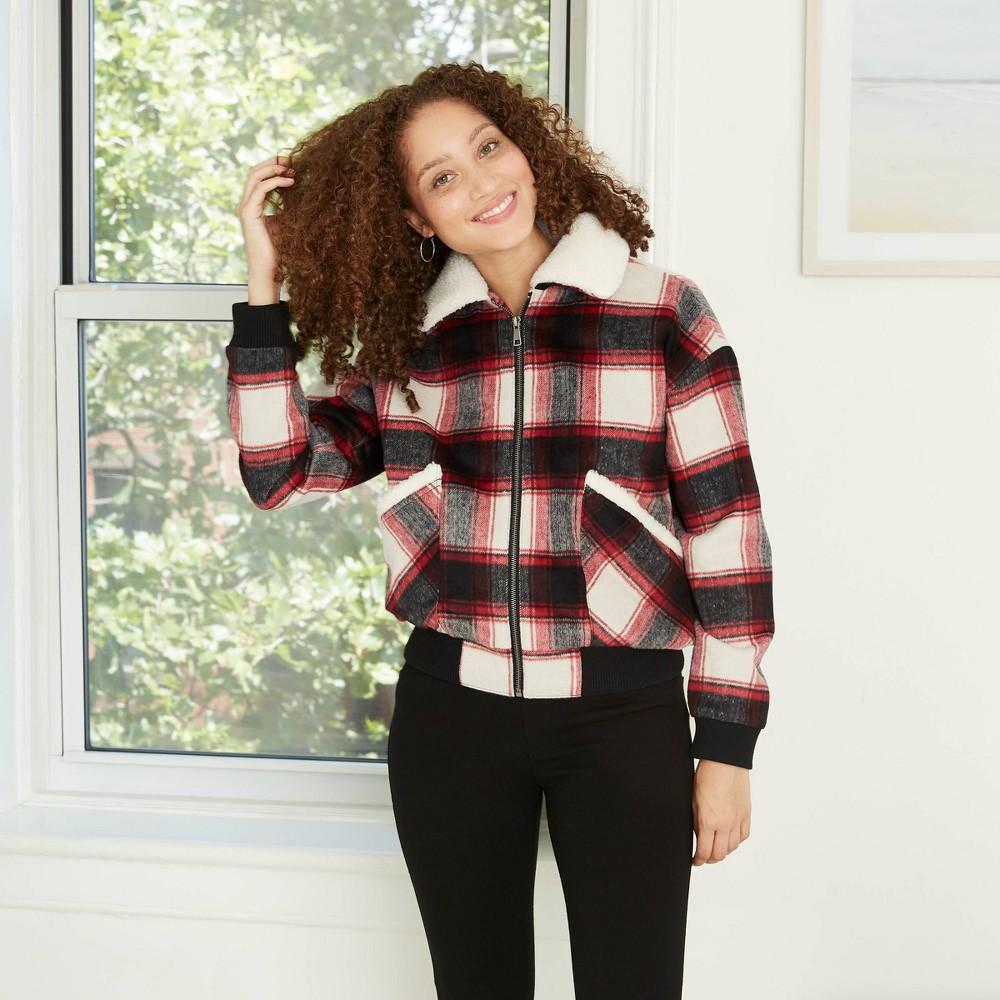 70s Jackets, Furs, Vests, Ponchos Womens Plaid Brushed Sherpa Jacket - Knox Rose XXL Pink $39.99 AT vintagedancer.com