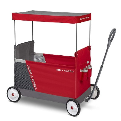 Radio Flyer Kid & Cargo Folding Wagon with 2 Versatile Seats and Canopy, Red