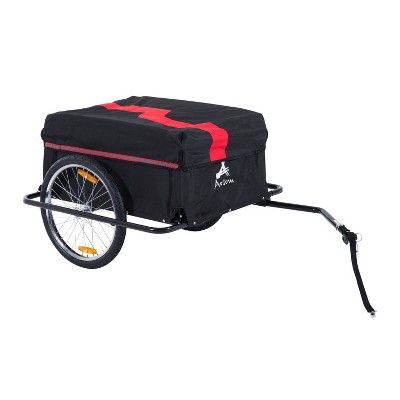 Aosom Elite Two-Wheel Bicycle Large Cargo Wagon Trailer with Oxford Fabric Folding Storage & Removable Cover Red