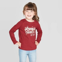 Toddler Girls' Long Sleeve 'Happy & Thankful' Graphic T-Shirt - Cat & Jack™ Maroon