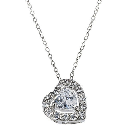 Heart Pendant Necklace with Crystals - Silver - image 1 of 2