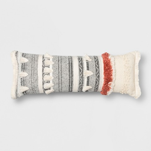 Tufted Multi Fringe Oversized Lumbar Pillow Cream