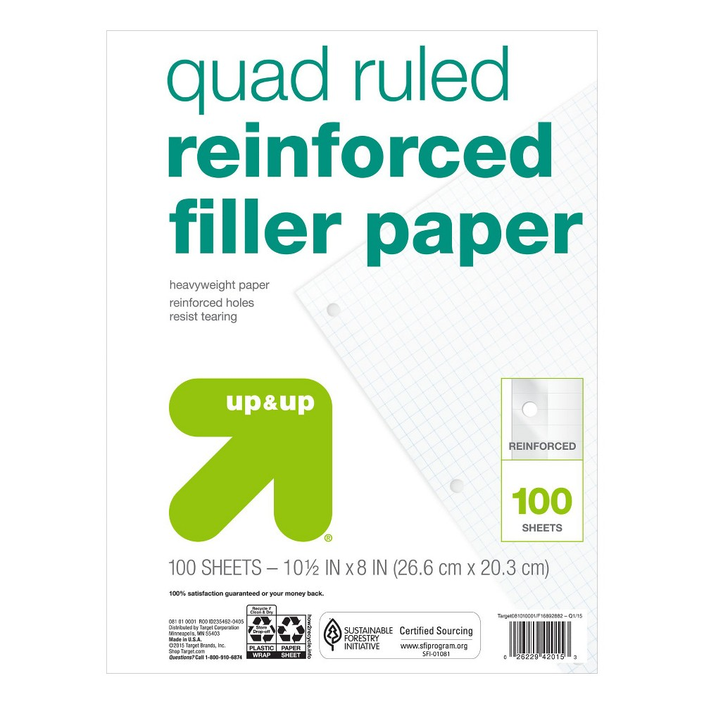 Image of 100ct Quad Ruled Filler Paper Reinforced - Up&Up