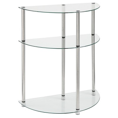 Classic Glass 3 Tier Entryway Table Clear Glass - Breighton Home