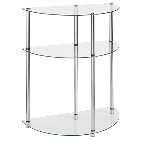 Classic Glass 3 Tier Entryway Table Glass Medium Convenience Concepts - image 1 of 3