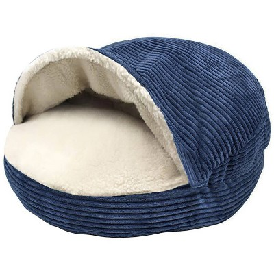 Precious Tails Cozy Corduroy Sherpa Lined Cave Dog Bed - S
