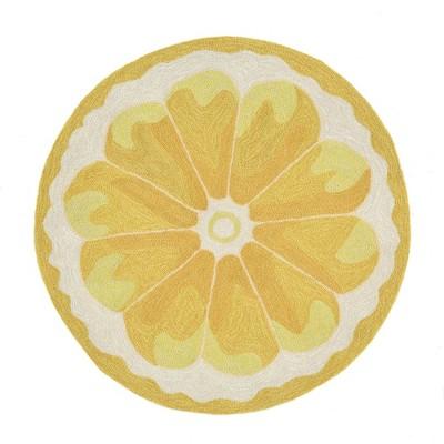 Yellow Lemon Slice Kitchen Rug (3' Round)- Liora Manne