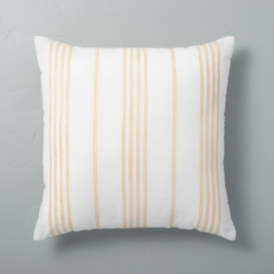 """18"""" x 18"""" Vertical Stripe Throw Pillow Sour Cream/Yellow - Hearth & Hand™ with Magnolia"""