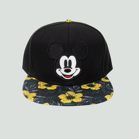 afbbe7ea9d7 Men s Disney Mickey Mouse Floral Flat Brim Hat - Black One Size   Target