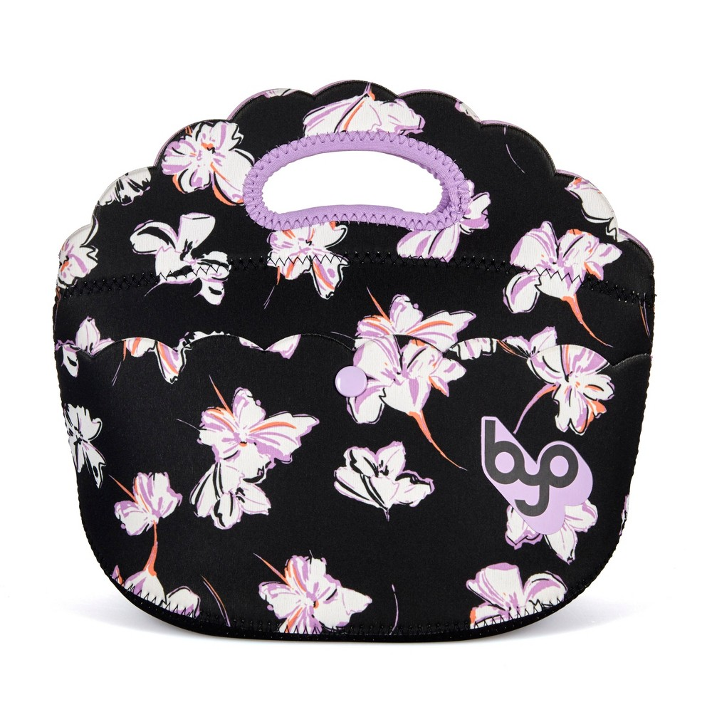Image of BYO Lulu Scalloped Lunch Tote - Black Sketch Floral, Black Purple White