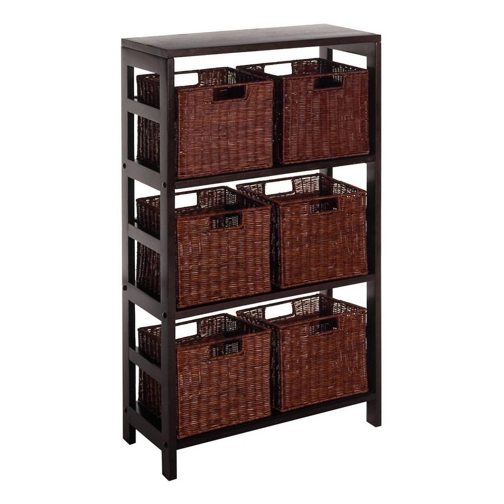 7pc Leo Shelf and Baskets Espresso Brown - Winsome