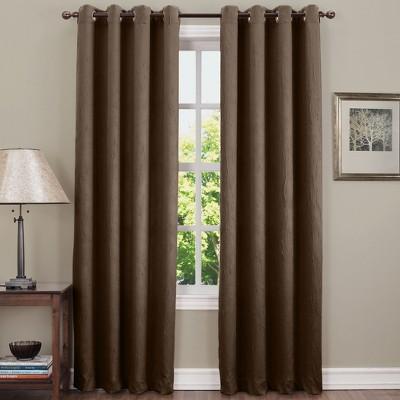 Gunther Crushed Texture Energy Efficient Grommet Curtain Panel Chocolate 50 x63 - Sun Zero