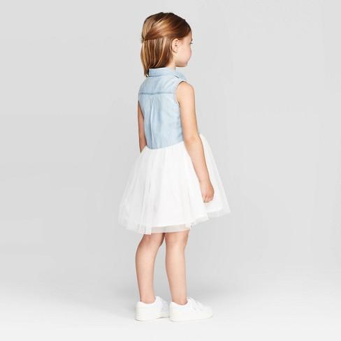 OshKosh B'gosh Toddler Girls' Tank Top Denim to Tulle Dress -Blue/Cream