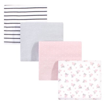 Hudson Baby Unisex Baby Cotton Flannel Receiving Blanket - Gray Pink Floral One Size