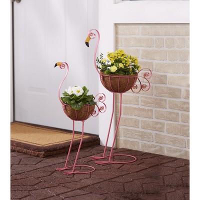 Lakeside Flamingo Bird Planters with Coconut Fiber Basket - Set of 2