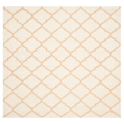Dhurries Rug - Ivory/Gold - (6'x6' Square) - Safavieh - image 1 of 2