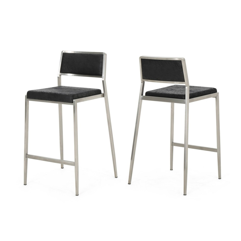 26 Bridle Set of 2 Modern Microfiber Counterstool Black - Christopher Knight Home
