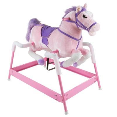 Toy Time Kids' Ride-On Plush Spring Rocking Horse - Pink