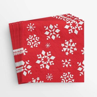 20ct Snowflake Lunch Napkin Red - Wondershop™