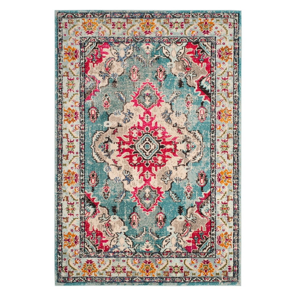 Medallion Area Rug Light Blue/Fuchsia