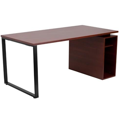 Flash Furniture Mahogany Computer Desk, Flash Furniture Black Glass Computer Desk With 3 Drawer Pedestal