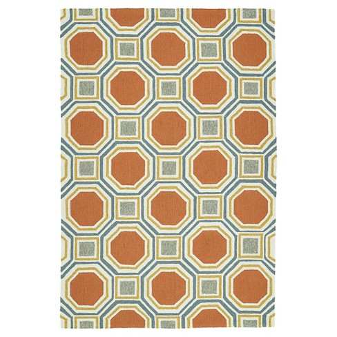 Kaleen Rugs Escape Octagon Indoor Outdoor Area Rug Pumpkin 8 X10