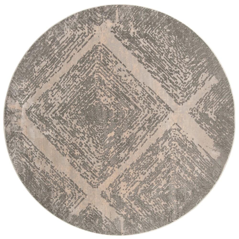 6'7 Shapes Round Area Rug Taupe - Safavieh, Gray